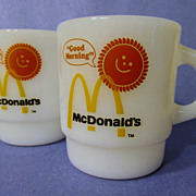 2 Fire King McDonald Good Morning Stacking Mugs, Brown Suns