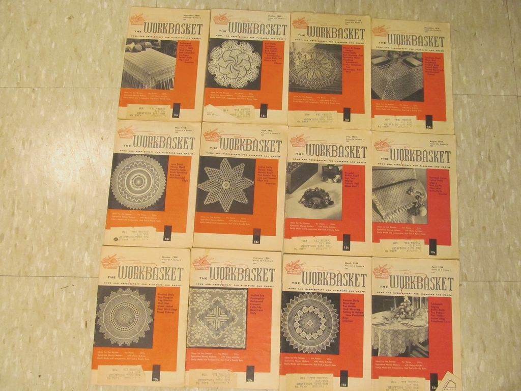 1958 Workbasket Needlecraft Magazine,Complete Year,12 Issues