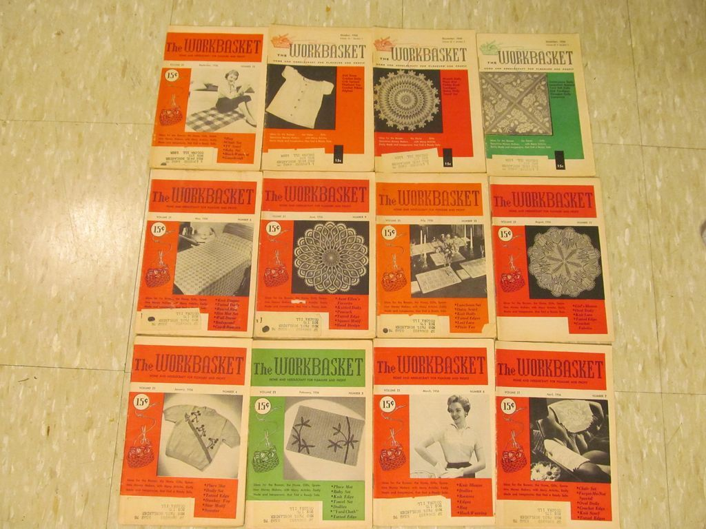 1956 Workbasket Needlecraft Magazine,,Complete Year,12 Issues
