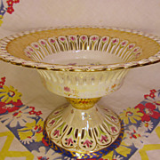 "Lovely 10"" Pearlized, Signed Compote"
