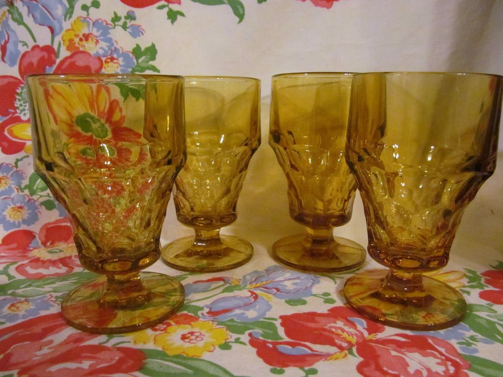 4 Amber Georgian Goblets + 4 More