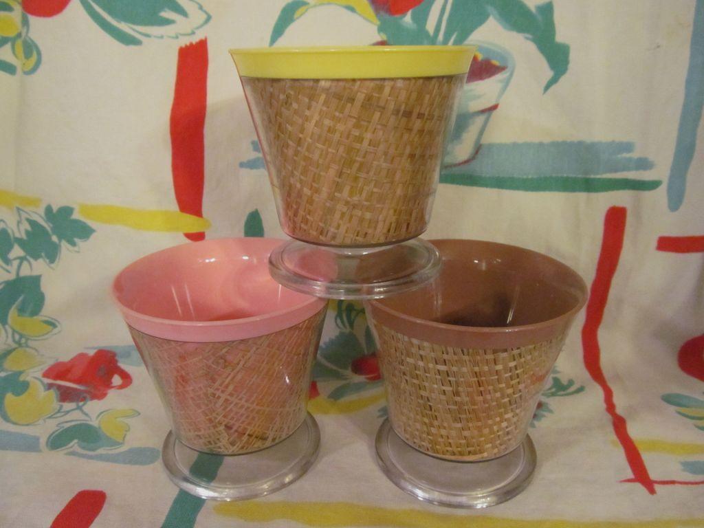 3 Raffia, Burlap Dessert Bowls, Thermo