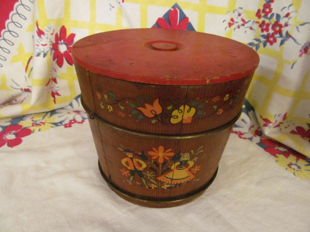 Wood Stave Folk Art Painted Bucket