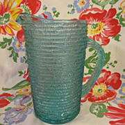 Mid Century Turquoise Threaded Pitcher