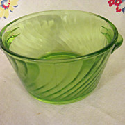 Green Depression Swirl Butter Tub,Tab Handles