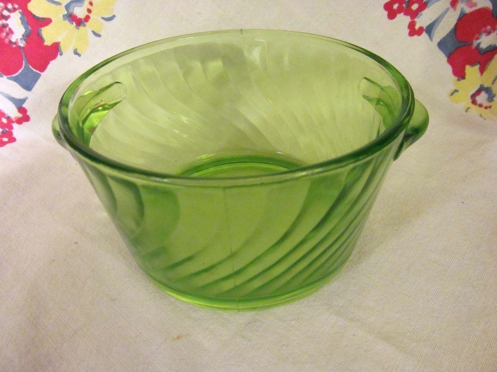 Green Depression Swirl Butter Tub,Tab Handles