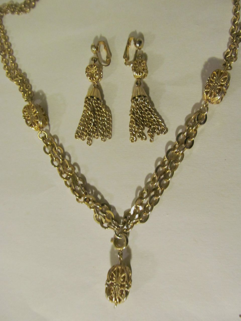 Emmons Necklace, Tassel Drop Clip Earrings