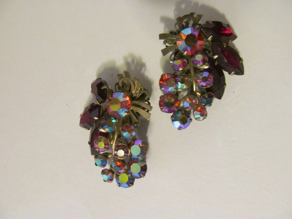 Shimmering Ruby & Aurora Rhinestone Clip Earrings