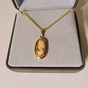 Pretty Gold Filled Cameo Necklace,Marked with Box