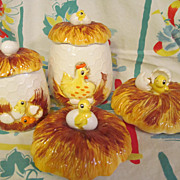 1970's Sears Chick, Chicken Wire Canister Items