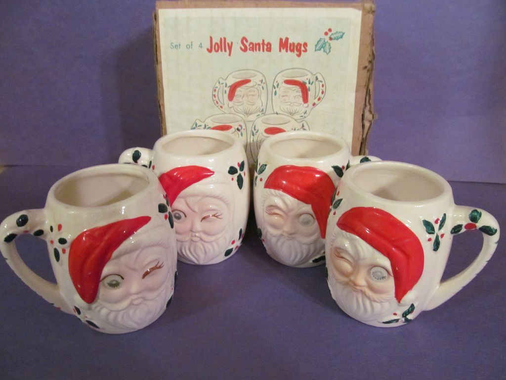 Winking Eye Santa Mugs with Box