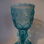 Lovely Northwood Blue Opalescent,Beads & Bark Twig Vase