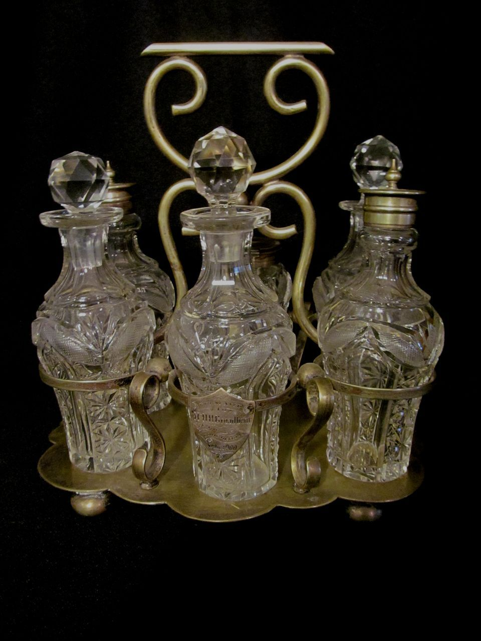 Lovely 6 Castor,Pattern Glass, Presentation Set, EPNS