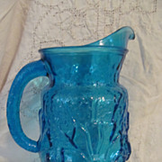 Hocking Blue Rain Flower Pitcher