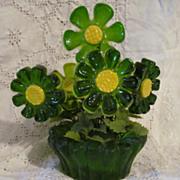 1969 Lucite Acrylic, Resin Daisy Flowerpot