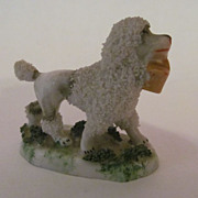 Germany Porcelain Poodle with Basket Figurine