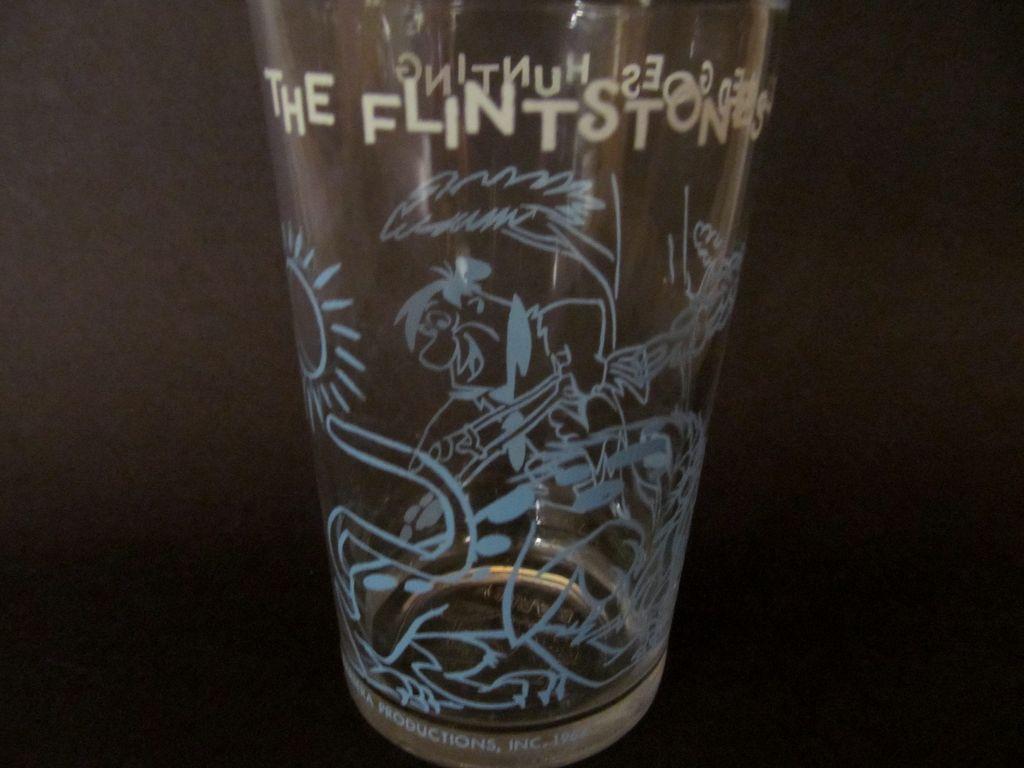 1964 Welch's Flintstones, Fred Goes Hunting Jelly Glass, Hanna Barbera