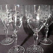 4 Crystal Optic Panel,Wheel Etched Goblets + 4 More