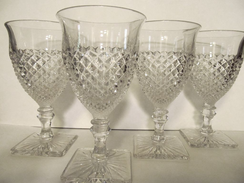 "4 English Hobnail 6"" Goblets, Square Foot"