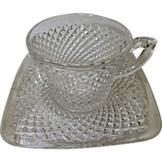 4 English Hobnail Cups, Square Saucers, Westmoreland