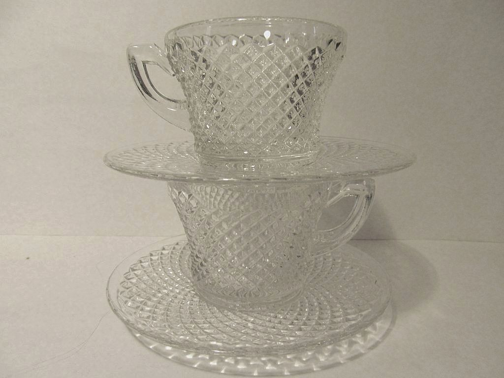 2 English Hobnail Cups & Saucers, Westmoreland