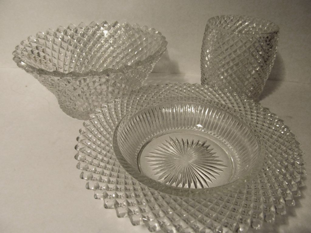 3 English Hobnail Items, Jar,Bowl,Grapefruit Bowl..Westmoreland