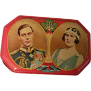 1939 King George VI & Queen Elizabeth Tin & Paper Napkin