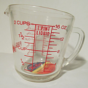 Unused Fire King 2c Measuring Cup, Paper Label