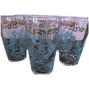 8 Federal Mid Century Turquoise Flower Tumblers