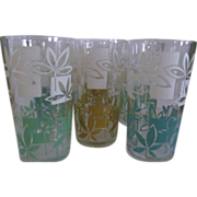 6 Mid Century Green, Gold, Turquoise Tumblers