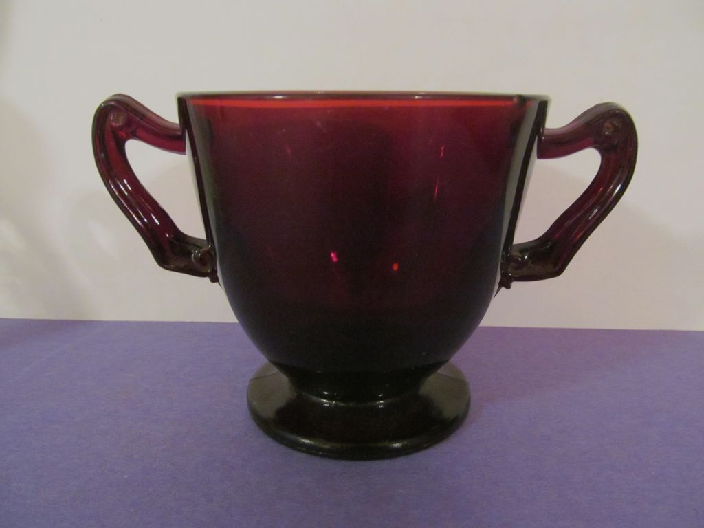 Hocking Royal Ruby Sugar, Scroll Handles