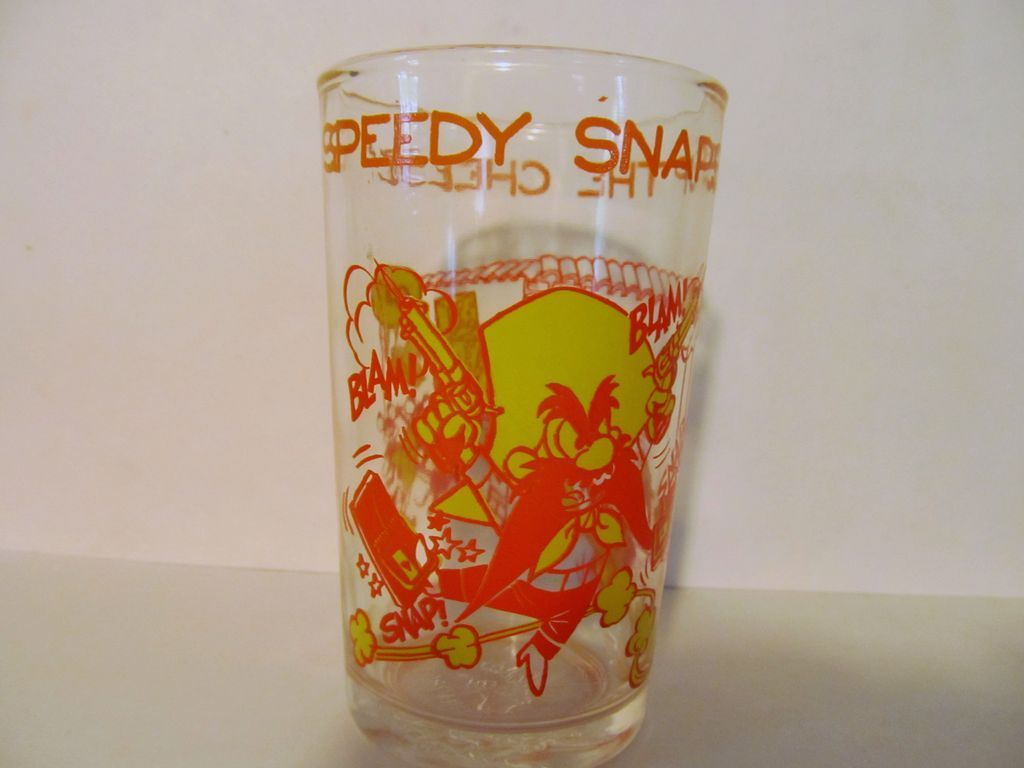 1974 Welch's Speedy & Yosemite Sam Jelly Glass, Warner Bros
