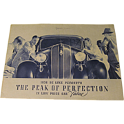 1936 Deluxe Plymouth Original Sales Brochure