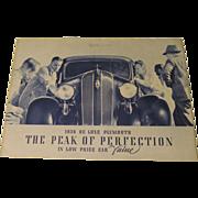 1936 Deluxe Plymouth Original Sales Brochure