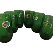 6 Hocking Forest Green Tumblers with Labels