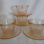 4 Pink Hazel Atlas Diamond Optic Cups & Saucers