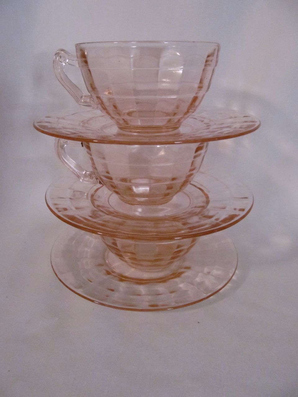 3 Hocking Pink Block Optic Cups & Saucers