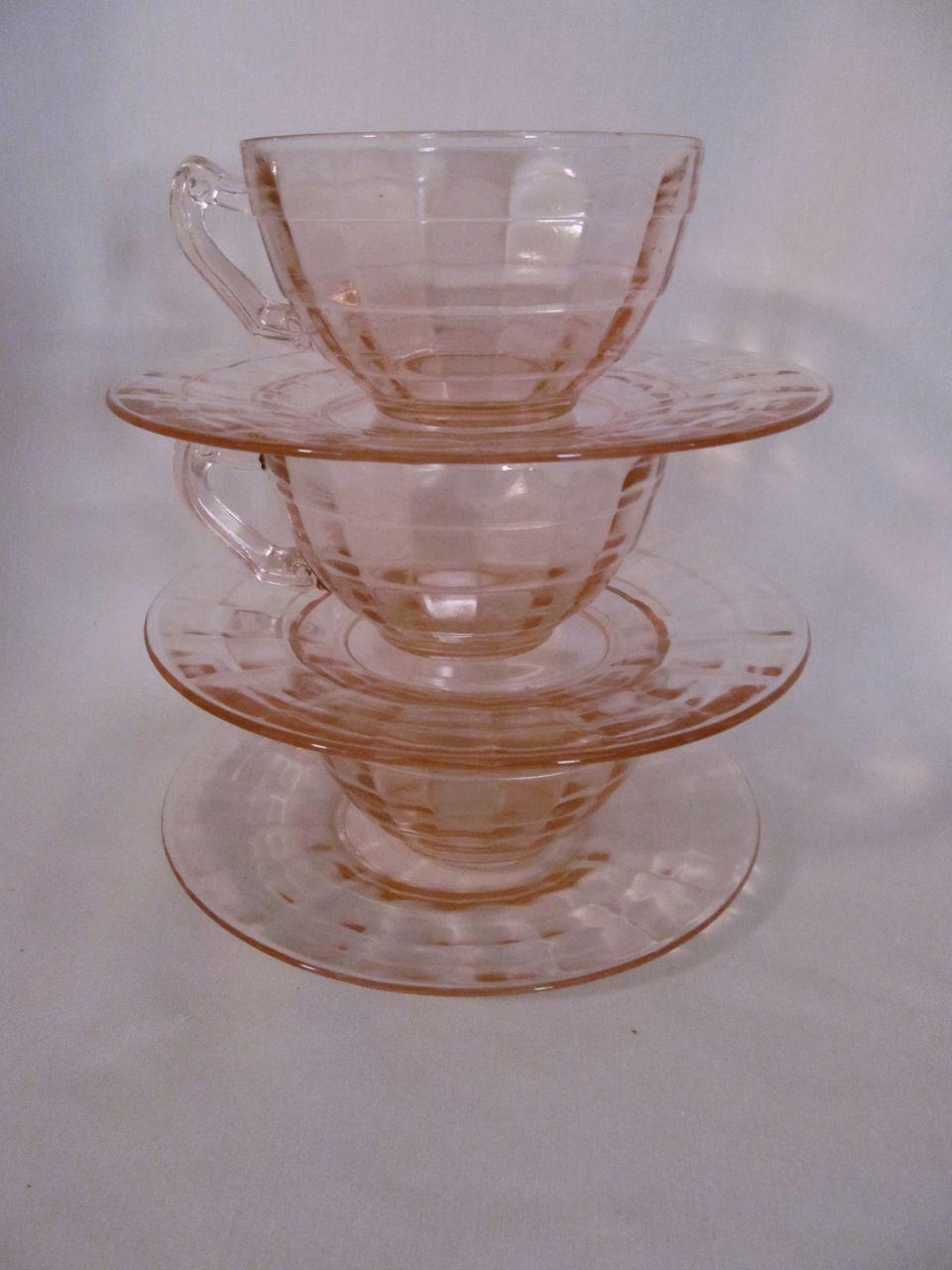 3 Hocking Pink Block Optic Cups & Saucers