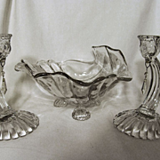 "Cambridge Caprice Lg Shell Bowl, 7"" Candle Holders with Prisms"