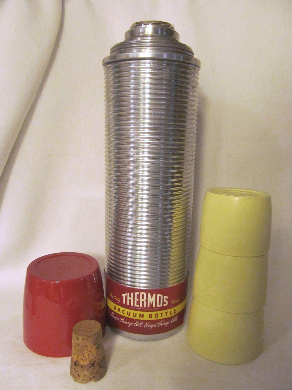 Thermos,Cork,3 Cups, Original Label