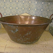 "Nice 14"" Copper Cauldron with Handles"