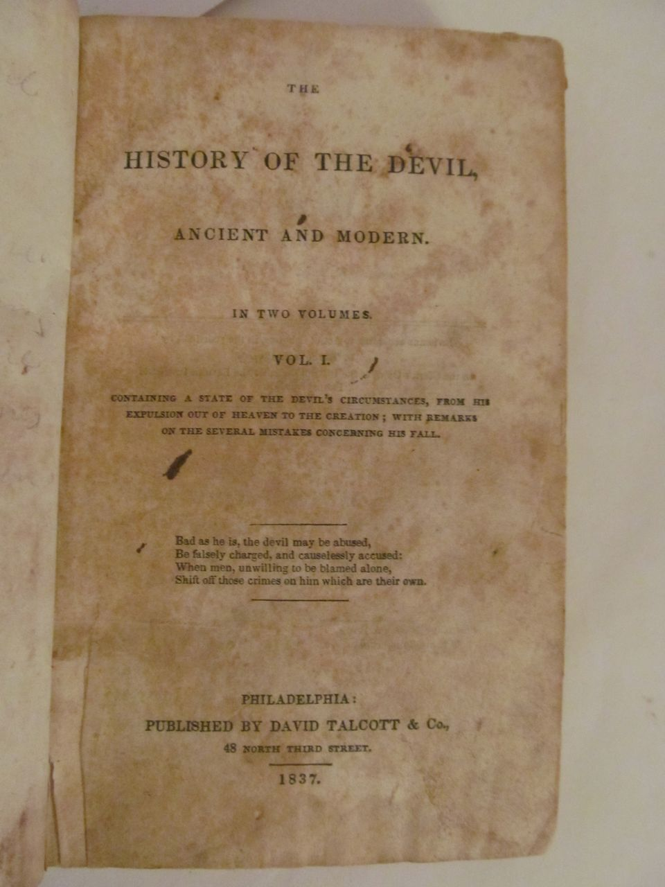 1837 The History of the Devil, 2 Volumes, David Talcott & Co Publishers
