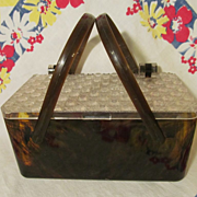 Lucite Faux Tortoise Shell Pill Box Purse