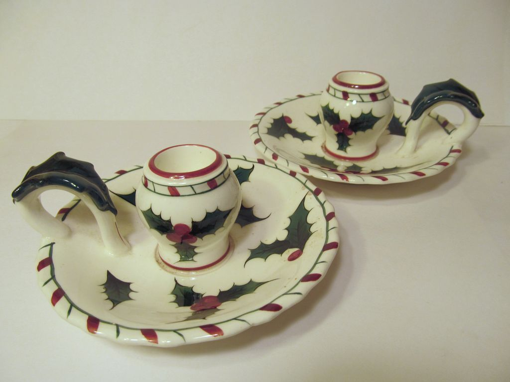 Lefton Holly Christmas Candle Holders