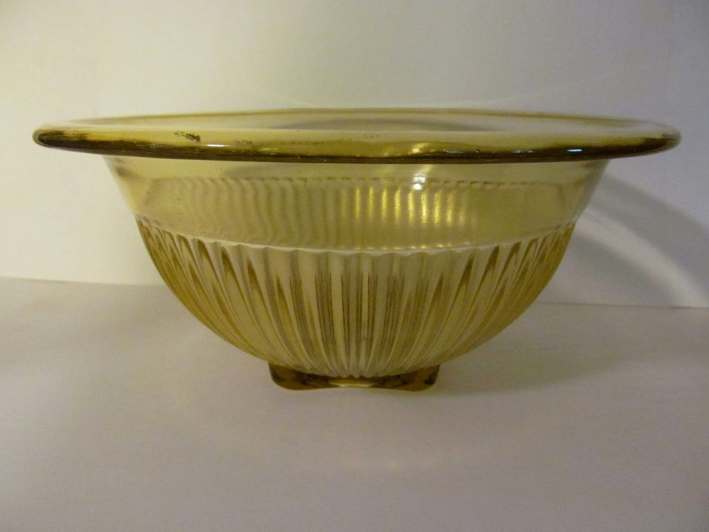 "Federal  9 1/2"" Amber Ribbed Mixing Bowl"