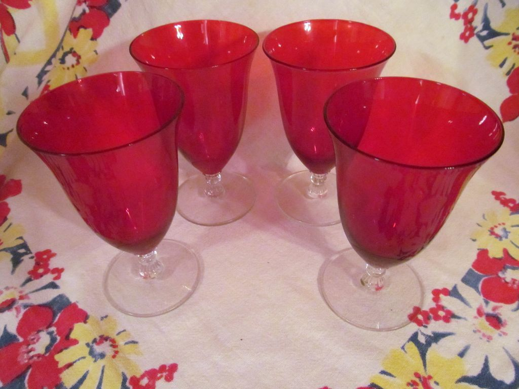 4 Lovely Ruby & Crystal Goblets