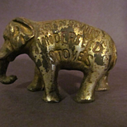 Advertising Elephant Cast Iron Paperweight, Independent Stove Co