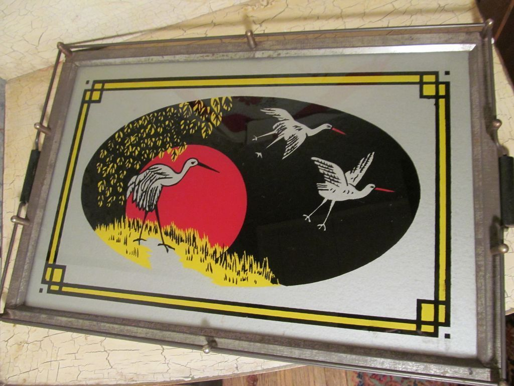 Art Deco Reverse Painted Metal Serving Tray with Gallery