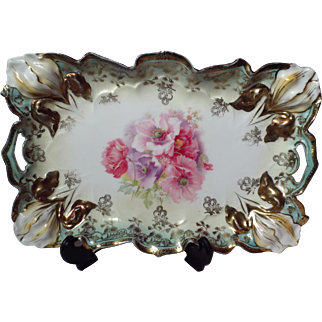 R.S. Prussia Pierced Handle Floral Porcelain Tray