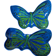 Andy Warhol Melamine Butterfly Appetizer Plate Pair In Blue